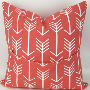 Coral Throw Pillow Cover, Arrow Pattern -ANY SIZE- Euro Sham, Cushion Cover, Coral White Decor, Custom Premier Prints, FREESHIP