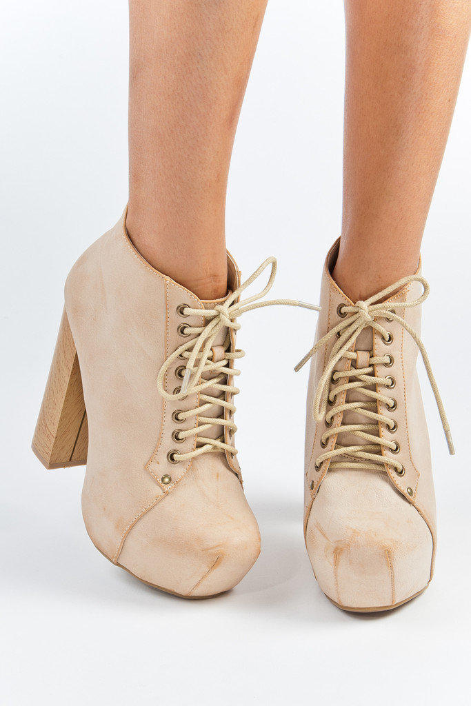 Lace Up Nude Flushed Platforms with Wooden Heel