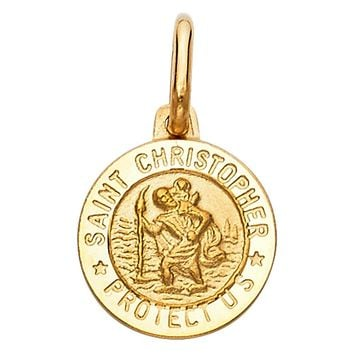 St Christopher Medal Pendant - 14K Solid Yellow Gold