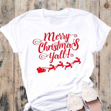 Merry Christmas Ya'll Shirt Women Santa claus reindeer graphic unisex cotton casual harajuku t-shirt girl gift party tumblr tees