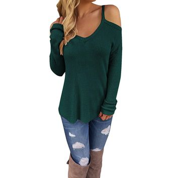 Women's Green Off Shoulder Casual Knitted Sweater