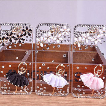 2014 Fashionable Handmade Bling Bling Ballet Dancing Girl Swarovski Element Crystal Clear Back Cover Case For iPhone 5 5S/4 4S