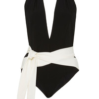 Riri Two-Tone Halter-Neck Swimsuit