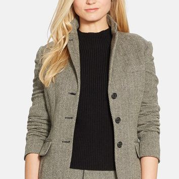 Women's Lauren Ralph Lauren Herringbone Wool Blend Jacket,