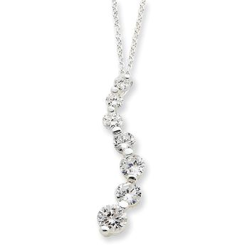 Sterling Silver CZ Heart Slide on 18 Chain Necklace
