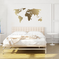 World Map Decal- Gold Kiss Cut World Decal by Chromantics