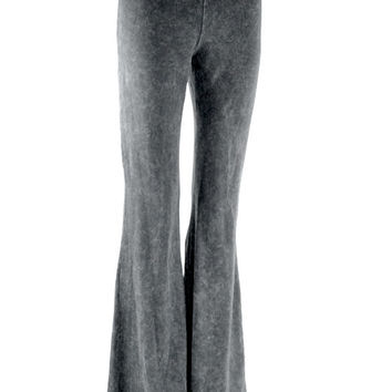 Dejavu Denim Look Mineral Washed Bell Bottom Pants (Grey)