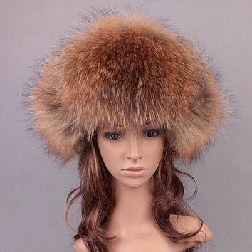 Winter Warm Men Fur Hat Natural Fox fur / Raccoon Fur Outdoor Genuine Leather Fur Cap Men Bomber Hats