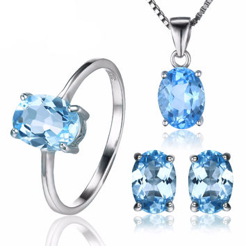 .925 Solid Silver Swiss Blue Topaz Oval Ring Pendant Necklace & Earrings Set