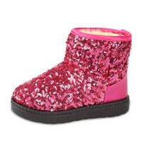 Kids Boots Snow Boots Girls Children's Winter Models Warm Shoes Fashion Sequins Medium-sized Child Boot Cotton  Boys