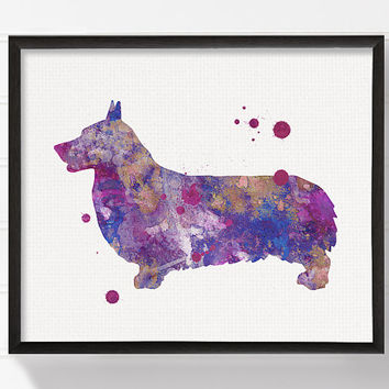 Corgi Art Print, Corgi Painting, Corgi Poster, Watercolor Corgi, Purple Corgi, Watercolor Dog Painting, Dog Poster, Dog Illustration