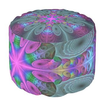 Mandala From Center Colorful Fractal Art With Pink Pouf