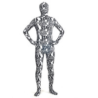 Catsuits & Zentai Black And White Letters Shiny Metallic Full Body Zentai Suit [TOQ120427001] - $47.55