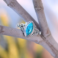 Turquoise ring, silver ring,  stone ring, silver Turquoise ring, 92.5 sterling silver,Turquoise stone,Natural Turquoise Silver Ring, RNSLTR5