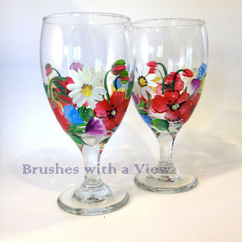 HandPainted Beverage Glasses - Multi colors  Flowers, set of 4 - Drinking Glasses Iced Tea Glasses Housewarming Gift