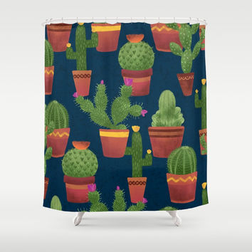 Terra Cotta Cacti Shower Curtain by Noonday Design