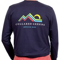 American Made Mountain Long Sleeve Tee in Navy by Collared Greens