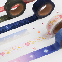 "Star and moon 0.59"" X 11yd single deco masking tape"
