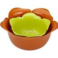 Zak! Designs 2-pc. Garden Series Rose Colander Set, Poppy/Kiwi