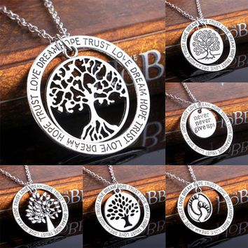 Wisdom Tree Loved Beloved Never Give up Family Gifts Party Pendant Necklace Believe In Love Best Friend Wome Men Jewelry