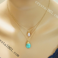 Layered 14k gold filled turquoise pearl stone necklace