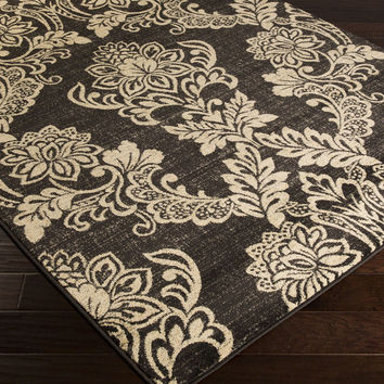 Riley Area Rug   Black Medallion and Damasks Rugs Machine Made   Style RLY5045