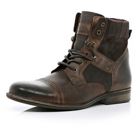 River Island MensDark brown contrast panel military boots