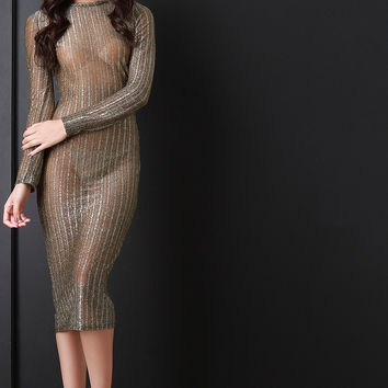 Semi-Sheer Mesh Glitter Bodycon Dress