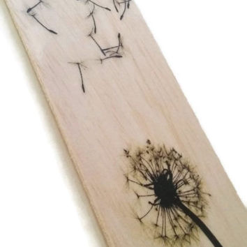 Wood bookmark - wooden bookmark - dandelion bookmark - make a wish bookmark - book lover bookmark - bookworm gift - fairy bookmark