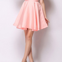 Cute Pink High Waisted Skater Skirt