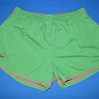 70s Izod Lacoste Green Tan Bathing Suit Shorty Shorts Extra Large