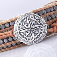 ONE Sterling Silver Clasp (BC1s) Compass Button Clasp in Sterling Silver, Handmade Jewelry Supplies, Handmade Sterling Silver Button Clasp