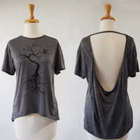 He Sings to Them at Night Open Back Top in Heather Grey