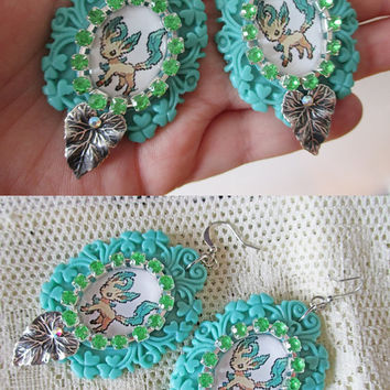 Pokémon Earrings - LEAFEON Sprite Earrings - Gamer Gear