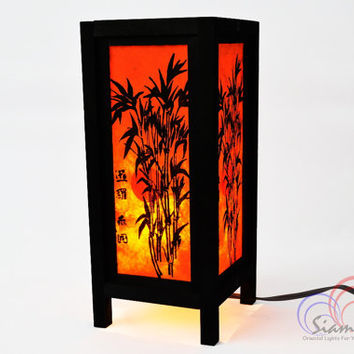 Bedside Lamps Wooden Table Lantern Bamboo on the Sunset Bedroom Decoration