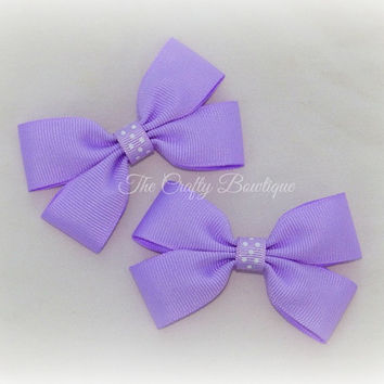 Small Lavender Bow ~ Lavender Hair Bow ~ Lavender Polka Dot Bow ~ Light Purple Bow ~ Purple Clippies ~ Purple & White bow ~Baby Toddler Bows
