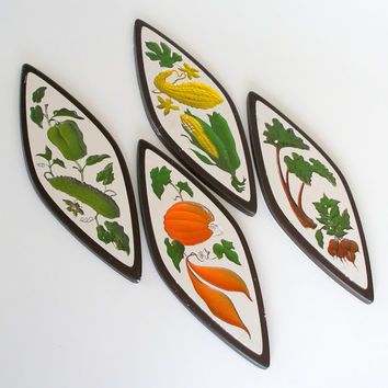 Vintage Chalkware Wall Plaques 1960s Kitchen Wall Decor by Richter Set of 4