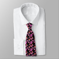 Beautiful Pink Floral Flamingo Animal Pattern Neck Tie