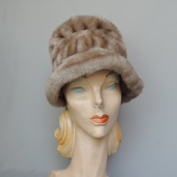 Vintage 1960s Faux Fur Mink Bonnet Hat, Vintage Winter Hat, 22 inch head