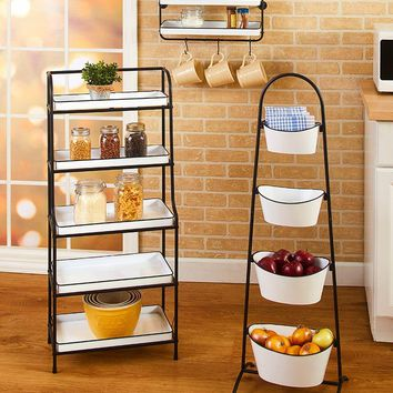 Farmhouse Style Enamel Look Kitchen Storage Black Frame White Trays Rack Cart
