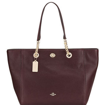 Coach Turn-Lock Chain Pebbled Tote Bag