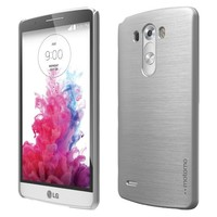 LG G3 Case, MOTOMO [INO LINE] LG G3 Case Protective [Silver] [Slim Fit] [Brushed Pattern] Snap-On Hard Cover Case for LG G3 - Retail Packaging - Silver (31G3MILN-SI)
