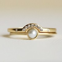Pearl Ring with Thin Diamond Band, 18k Yellow Gold Rings | Capucinne