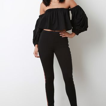 Striped Sides High Waisted Taper Pants