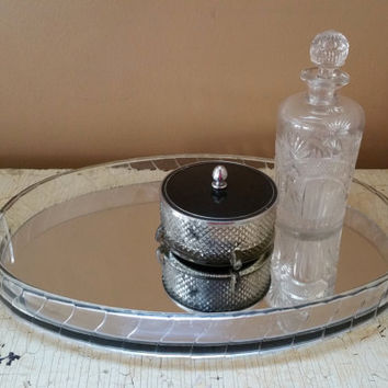 Vintage Lucite Oval Mirrored Vanity Tray Art Deco Acrylic Oval Dresser Tray