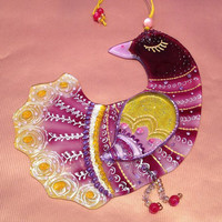 Handmade BIRD of PARADISE  glass fusing techniques newborn gift lovers mothers sisters guardian amulet talisman
