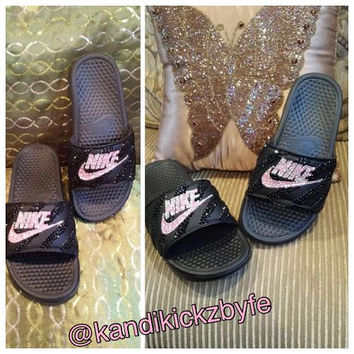 20f642dfe Beautifully Bling Nike Slides for Women! from KandiKickzbyFe on