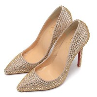 Christian Louboutin Fashion Edgy Diamond Pointed Red Sole Heels Shoes