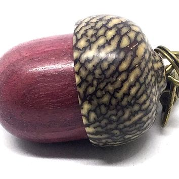 LV-4342 Purpleheart & Betelnut Acorn Box, Pill Holder, Compartment Pendant-SCREW CAP