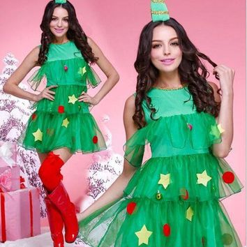 ONETOW Women Fashion Sleeveless Frills Gauze Mini Dress Cosplay Christmas Tree Clothes Uniform